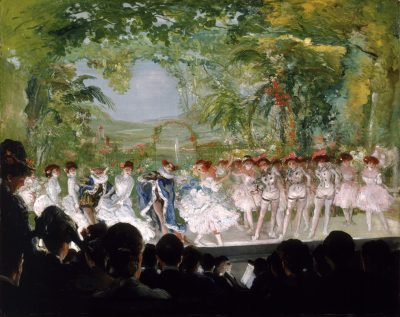A chorus of dancers performing against an elaborate set backdrop.