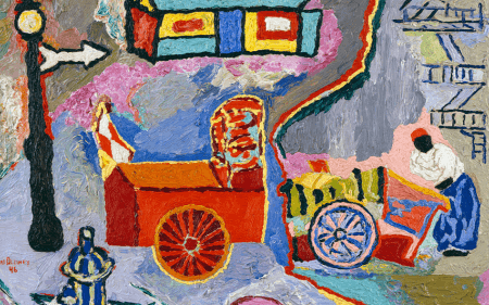 Detail of a colorful work by Delaney in which the dirty streets of Greenwich Village are transformed into vibrant, joyful colors that capture his consistently optimistic spirit