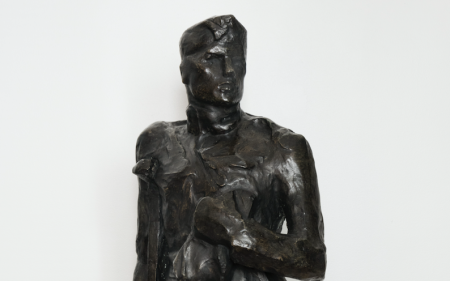 Gertrude Vanderbilt Whitney (American, 1875-1942). Honorably Discharged, 1919, bronze. 53 ¾ inches high. Inscribed Gertrude V. Whitney and dated 1919 on the base.