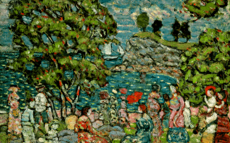 An outdoor leisure scene of figures lounging in a lush cove by the water.