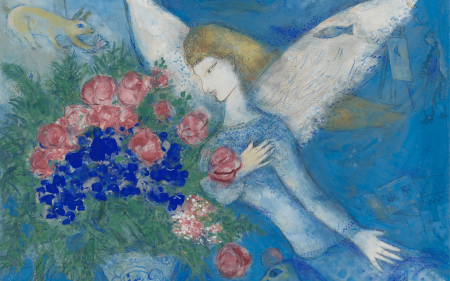 An angel with white wings looking at a bouquet of flowers.