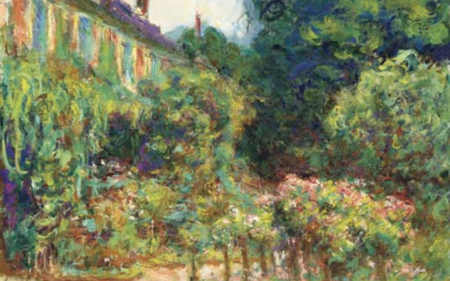 A painting of artist Claude Monet's home in Giverny, France.