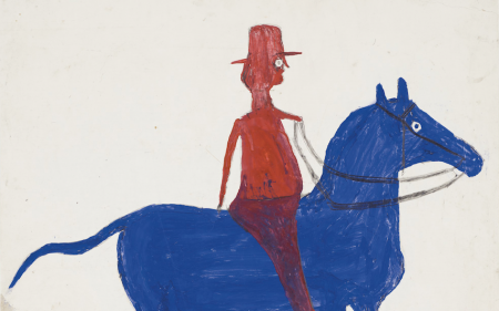close up of a red man on a blue horse