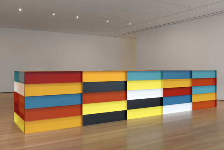 Donald Judd, American, 1928-1994. Untitled, 1991. Enameled aluminum. Bequest of Richard S. Zeisler and gift of Abby Aldrich Rockefeller (both by exchange) and gift of Kathy Fuld, Agnes Gund, Patricia Cisneros, Doris Fisher, Mimi Haas, Marie-Josée and Henry R. Kravis, and Emily Spiegel. © 2020 Judd Foundation / Artists Rights Society (ARS), New York.
