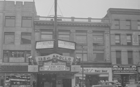 Exterior of the Apollo Theater, circa 1940. Courtesy of the New York City Municipal Archives.