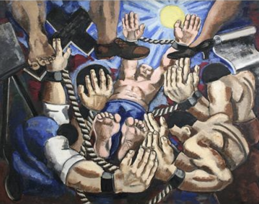 Irene Rice Pereira, Struggling, 1937. Oil on canvas. 39 1/4 x 49 3/8 in. Image courtesy of Lowe Art Museum at the University of Miami.