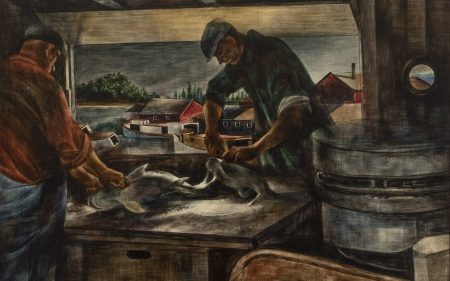 Zoltan Sepeshy's painting of two men gutting freshly caught fish.