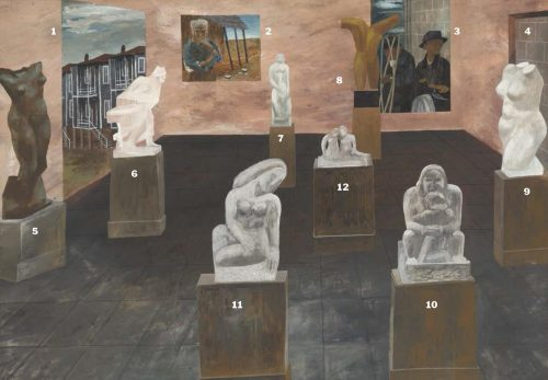 Painting by Ben Shahn with numbers on each figure to explain what the different sculptures were inspired by