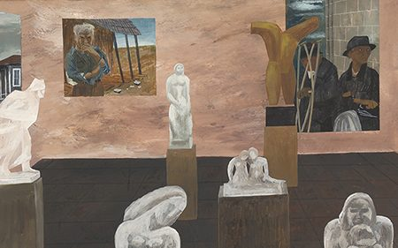 This work by Ben Shan shows multiple paintings and sculptures in a gallery