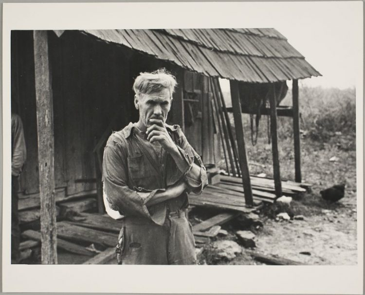 Black and white photograph by Ben Shahn depicting Sam Nichols, a farmer
