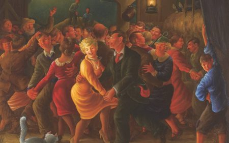 This scene by Clyde Singer shows people dancing in a barn and a moon in the background