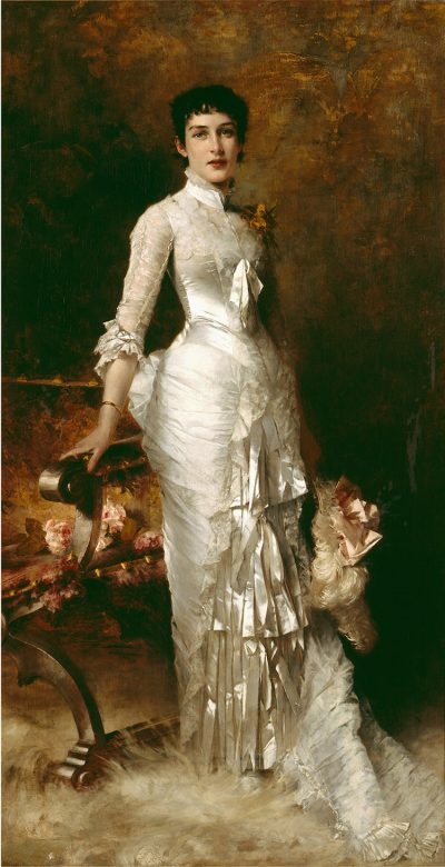 Detail of an exquisitely rendered full-length portrait of a beautiful and confident young woman wearing a sumptuous satin and lace evening gown and holding a feathered hat.