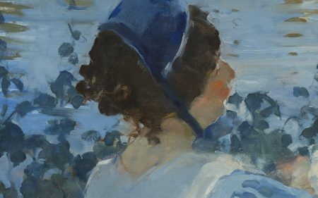 Close up of the back of a wet nurse's head - she wears a blue cap and blue dress - in Martha Walter's work.