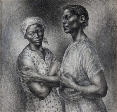 Charles White, American, 1918–1979. Oh, Mary, Don't You Weep, 1956. Graphite and pen and ink on paper. 39¼ x 41½ inches. Signed and dated lower right. Collection of Crystal Bridges Museum of American Art, Bentonville, Arkansas.