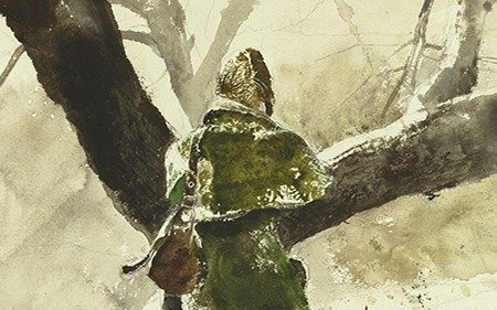 This detail shows a woman from behind. She is walking on snow near a tree and wearing a green coat