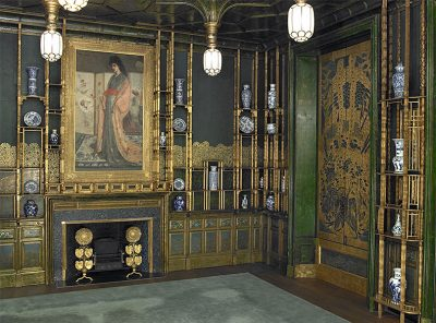 Whistler's Peacock Room at the Freer Gallery has many gold and oriental-inspired accents