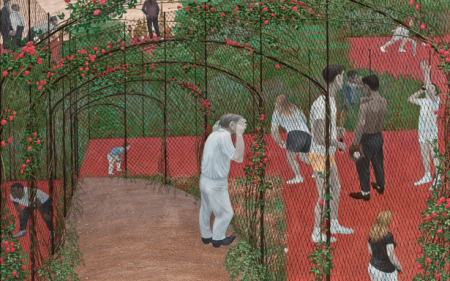 Green and pink artwork showing a character standing under roses and looking at other characters playing sports