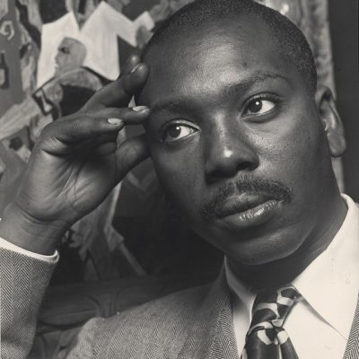 Portrait of Jacob Lawrence in black and white