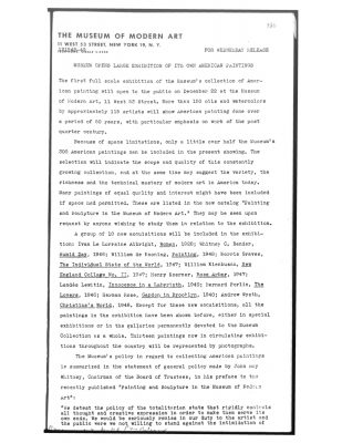 Press release from 1948 issued by the Museum of Modern Art (MoMA).
