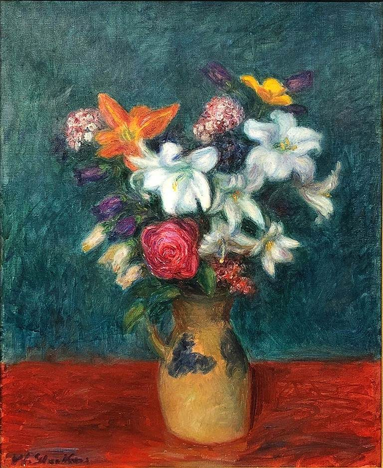 William Glackens floral still life featuring Lillies and other flowers