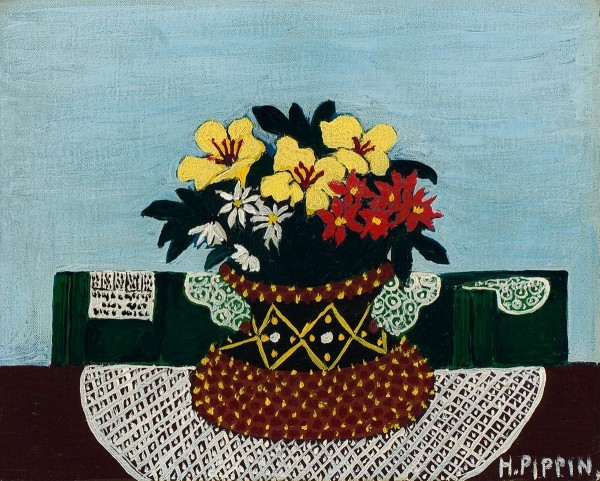 This work by Horace Pippin shows yellow hibiscus, daisies, and red asters