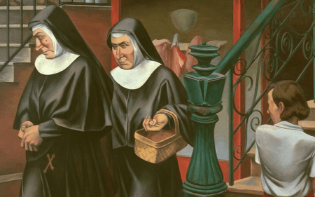 Painting by O. Louis Guglielmi showing the back of character looking at two nuns leaving a store
