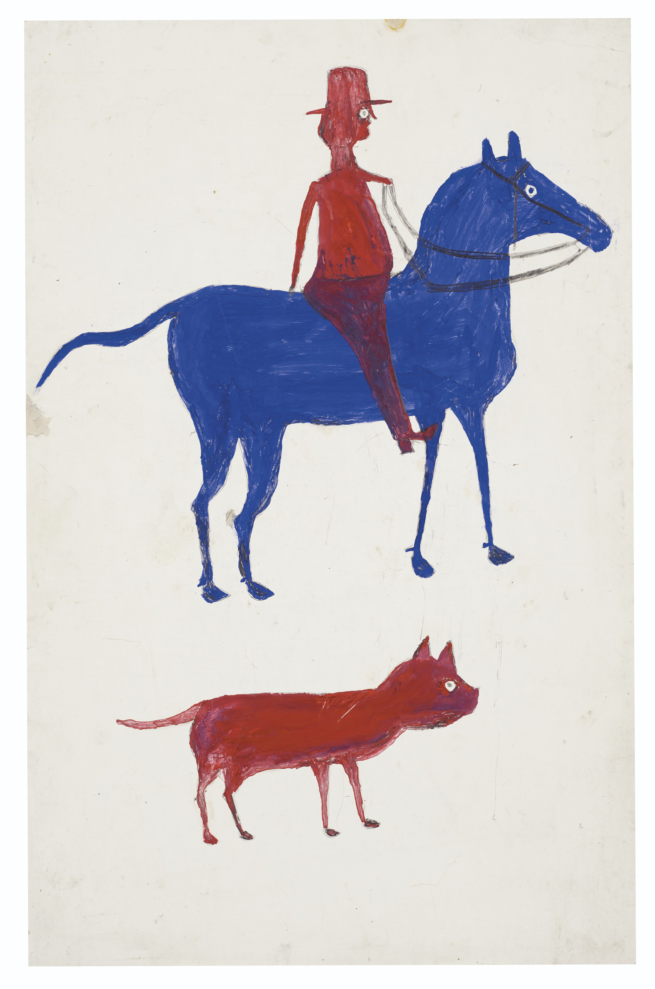 A man on horseback with a red dog below.