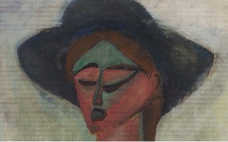 This work by Max Weber shows a figure wearing a hat in a cubist-like style