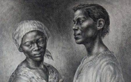 Charles White depicts two women in this greyscale drawing